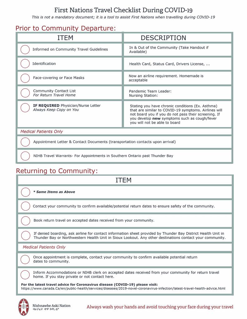 Nan Covid 19 Travel Checklist Nishnawbe Aski Nation